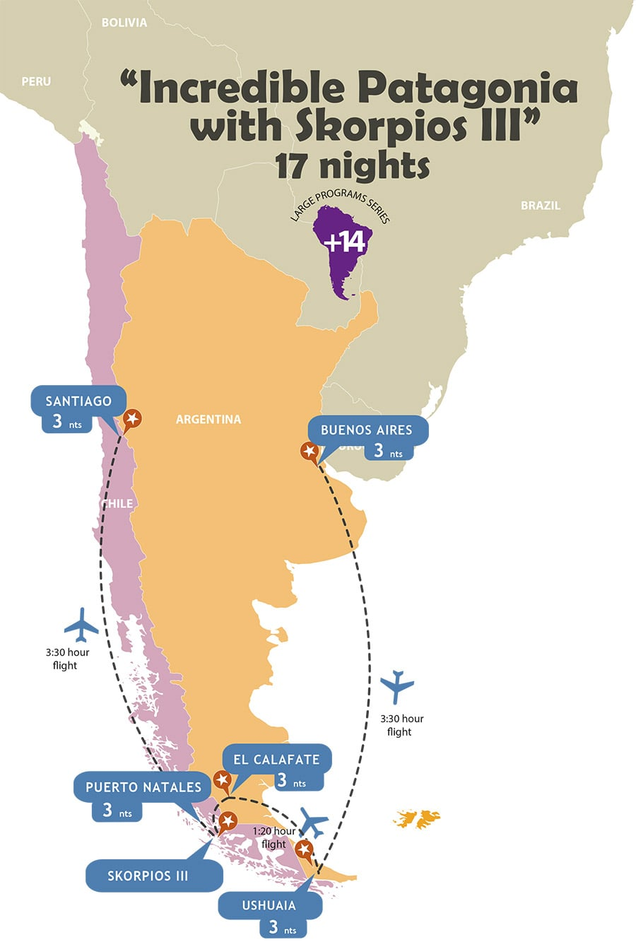 Incredible Patagonia with Skorpios Cruise - 17 Nights